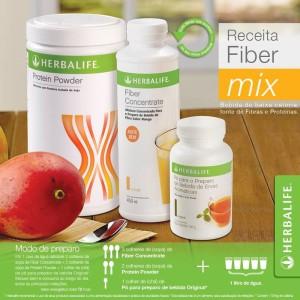 Fiber Mix Herbalife combina o  Fiber Concentrate com a proteina Powder e o Chá Verde